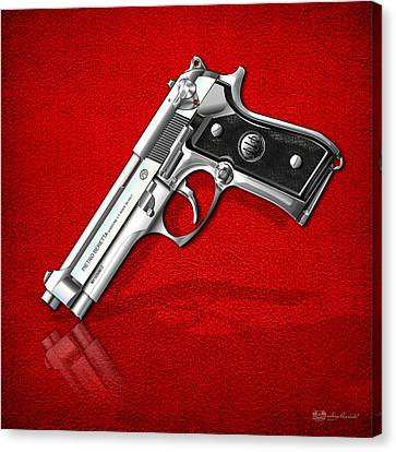 Beretta 92fs Inox Over Red Leather  Canvas Print by Serge Averbukh