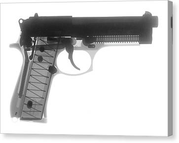 Beretta 9mm X-ray Photograph Canvas Print by Ray Gunz