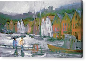 Bergen Bryggen In The Rain Canvas Print by Joan  Jones