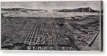 Alcatraz Canvas Print - Berkeley California Aerial View 1909 by Daniel Hagerman