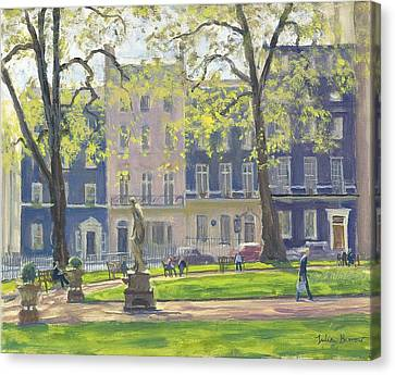 Berkeley Square, South West Corner Oil On Canvas Canvas Print by Julian Barrow