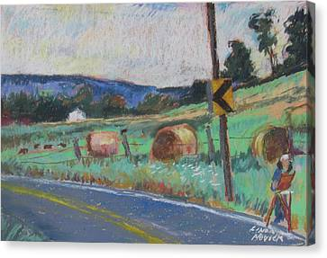 Canvas Print featuring the painting Berkshire Mountain Painter by Linda Novick
