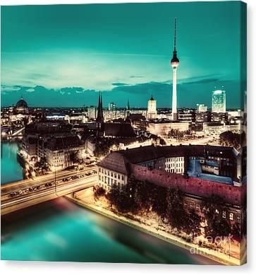 Berlin Germany Major Landmarks At Night Canvas Print by Michal Bednarek