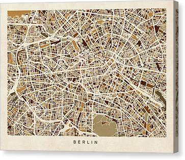 Berlin Germany Street Map Canvas Print by Michael Tompsett