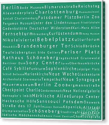 Berlin In Words Algae Canvas Print by Sabine Jacobs