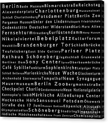 Berlin In Words Black Canvas Print