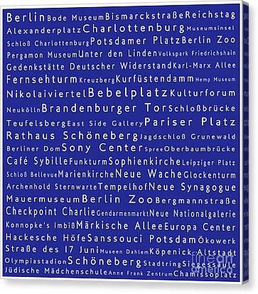 Berlin In Words Blue Canvas Print by Sabine Jacobs