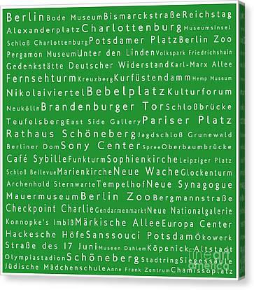 Berlin In Words Green Canvas Print by Sabine Jacobs