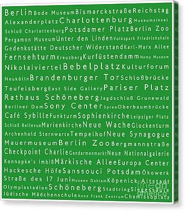 Berlin In Words Green Canvas Print