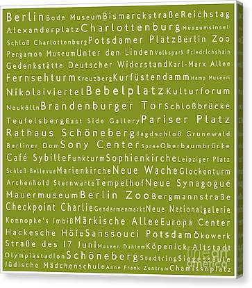 Berlin In Words Olive Canvas Print by Sabine Jacobs