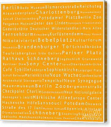 Berlin In Words Orange Canvas Print