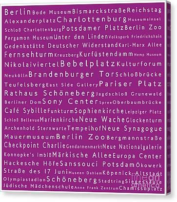 Berlin In Words Pink Canvas Print