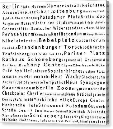 Berlin In Words White Canvas Print