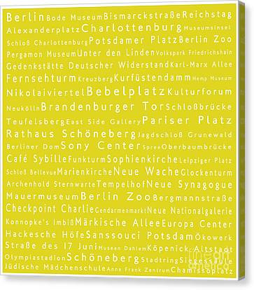 Berlin In Words Yellow Canvas Print