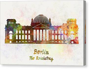 Berlin Landmark The Reichstag In Watercolor Canvas Print by Pablo Romero