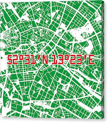 Stadt Canvas Print - Berlin Map Green by Big City Artwork
