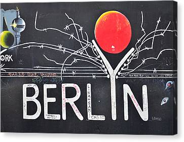 Berlin - Painting On The Berlin Wall Canvas Print by Gynt