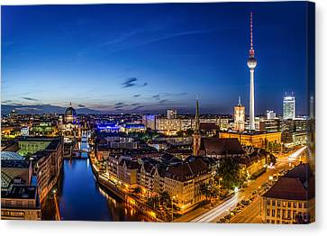 Berlin Skyline At Blue Hour 1 Canvas Print by Jean Claude Castor