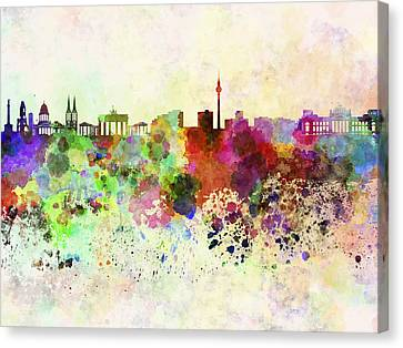 Berlin Skyline In Watercolor Background Canvas Print by Pablo Romero