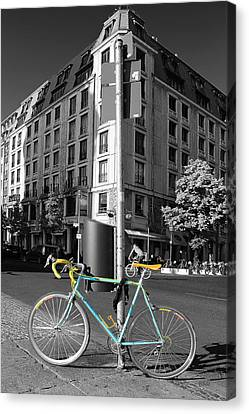 Berlin Street View With Bianchi Bike Canvas Print by Ben and Raisa Gertsberg