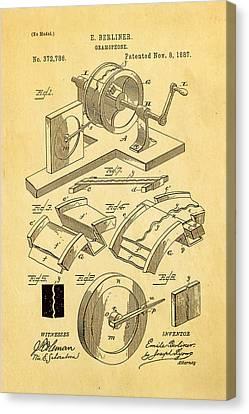 Berliner Gramophone Patent Art 1887 Canvas Print