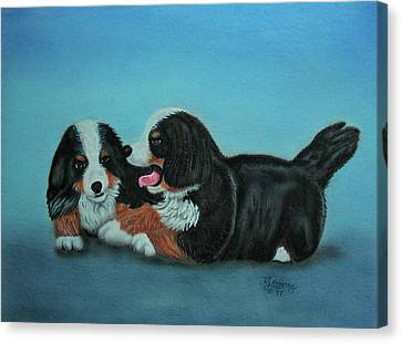 Canvas Print featuring the painting Bernese Mountain Puppies by Thomas J Herring