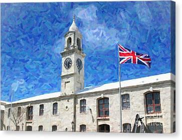 Canvas Print featuring the photograph Bermuda Clocktower by Verena Matthew
