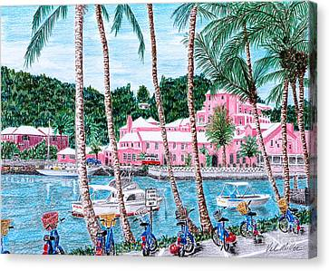 Canvas Print featuring the painting Bermuda Pink Hotel by Val Miller