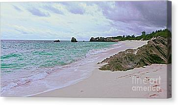 Sofa Size Canvas Print - Bermuda Pink Prints In The Sand by Shelia Kempf