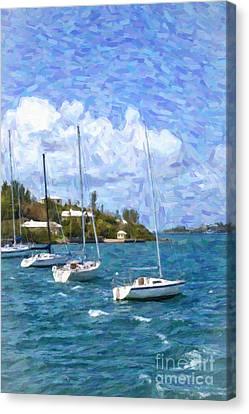 Canvas Print featuring the photograph Bermuda Sailboats by Verena Matthew