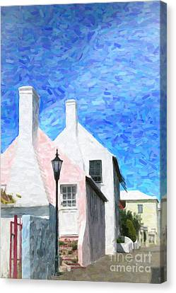 Canvas Print featuring the photograph Bermuda Side Street by Verena Matthew