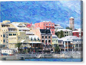 Canvas Print featuring the photograph Bermuda Waterfront by Verena Matthew