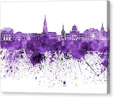 Bern Skyline In Purple Watercolor On White Background Canvas Print by Pablo Romero