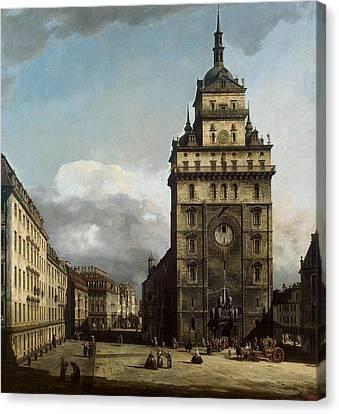 Kirche Canvas Print - Bernardo Bellotto 1721-1780-rococo-square With The Kreuz Kirche In Dresden 1751 by MotionAge Designs