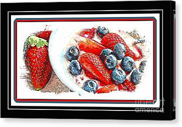Berries And Yogurt Illustration - Food - Kitchen Canvas Print by Barbara Griffin