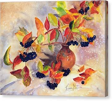 Berry Harvest Still Life Canvas Print by Karen Mattson