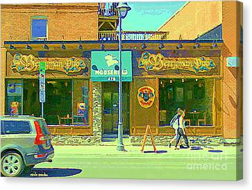 Berryman Pub The Glebe Sport Bar Burger Joint Old Ottawa Pub Scene Storefront Cafe Painting Cspandau Canvas Print by Carole Spandau