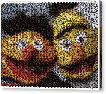 Bert And Ernie Bottle Cap Mosaic Canvas Print