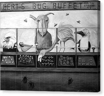 Bert's Bug Buffet Bw Canvas Print by Leah Saulnier The Painting Maniac
