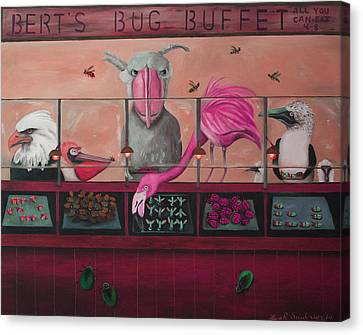 Bert's Bug Buffet Edit 2 Canvas Print by Leah Saulnier The Painting Maniac