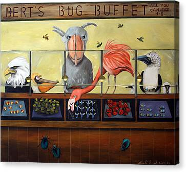 Bert's Bug Buffet Canvas Print by Leah Saulnier The Painting Maniac