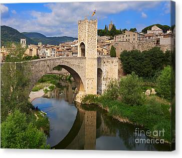 Besalu A Medieval Town In Catalonia Canvas Print by Louise Heusinkveld