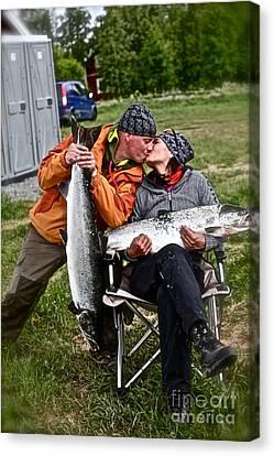 Besame Mucho . Salmon Love Story. Canvas Print by  Andrzej Goszcz