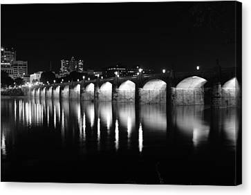 Beside The Bridge At Night...   # Canvas Print by Rob Luzier