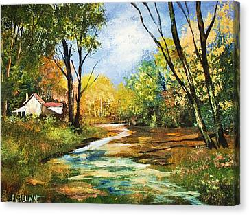 Canvas Print featuring the painting Beside The Stream by Al Brown