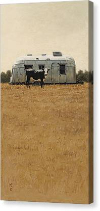 Canvas Print featuring the painting Bessie Wants To Travel by Ron Crabb