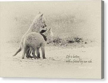 Fox Kit Canvas Print - Best Friends by Everet Regal