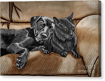Best Friends Canvas Print by Karen Sheltrown