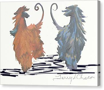 Best Pals On White Canvas Print by Terry  Chacon