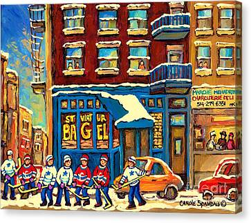 St.viateur Bagel Canvas Print - Best Sellers Original Montreal Paintings For Sale Hockey Game At St.viateur Bagel Carole Spandau by Carole Spandau